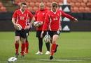 Wales fly-half Dan Biggar puts boot to ball
