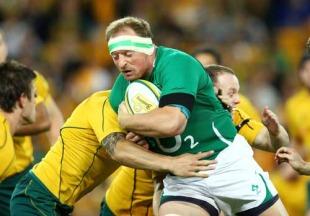 Ireland lock Mick O'Driscoll is stopped, Australia v Ireland, Suncorp Stadium, Brisbane, Australia, June 26, 2010