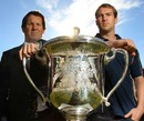 Wallabies captain Rocky Elsom and coach Robbie Deans pose with the Bledisloe Cup