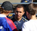 Australia's Quade Cooper chats to some young fans