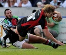 Saracens' George Kruis dives over to score a try against Quins