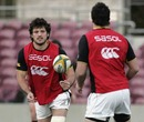 South Africa back-rower Ryan Kankowski fires a pass during training