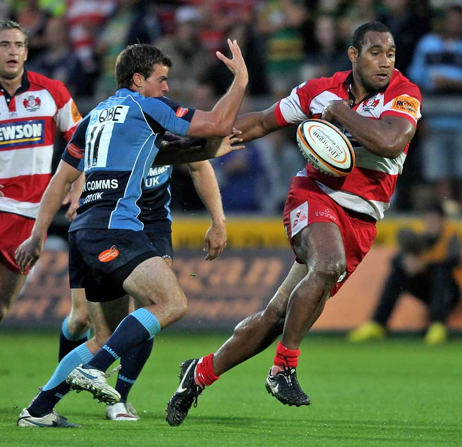 Gloucester's Apo Satala loses the ball in contact