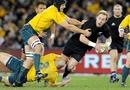 All Blacks scrum-half Jimmy Cowan is taken to ground