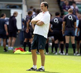 England manager Martin Johnson watches on, England training, Twickenham, England, August 11, 2010
