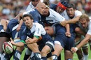 Agen scrum-half Sylvain Dupuy fires a pass