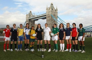 The Women's Rugby World Cup captains pose with the trophy at the tournament launch, City Hall, London, England, August 17, 2010