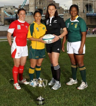 Melissa Berry, Cheryl Soon, Melissa Ruscoe and Mandisa Williams pose with the Women's Rugby World Cup, Women's Rugby World Cup England 2010 Official Launch, City Hall, London, England, August 17, 2010
