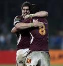 Southland's Jamie Mackintosh celebrates victory with Elliott Dixon