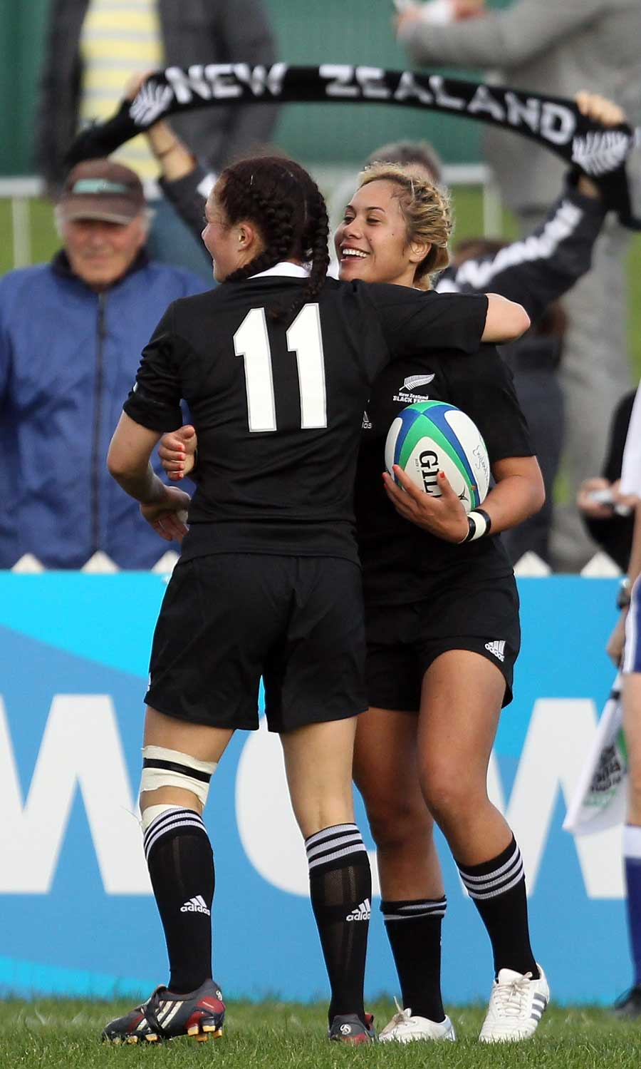 New Zealand's Huriana Manuel is congratulated after scoring