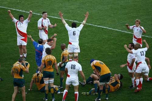 England celebrate victory over Australia