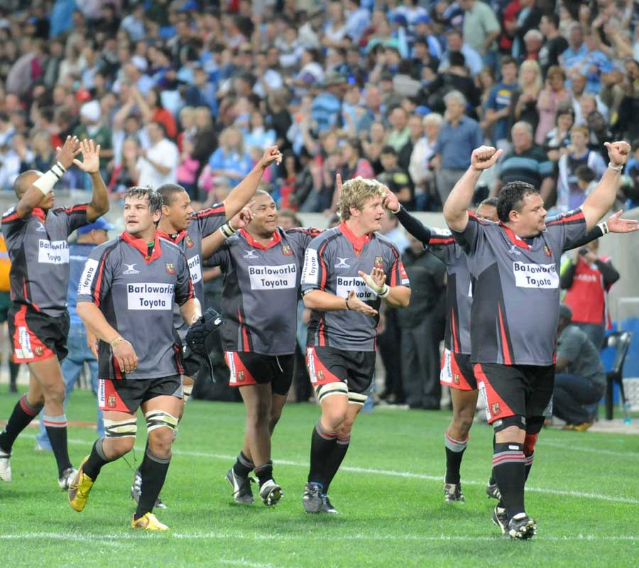 The Pumas players celebrate beating the Blue Bulls
