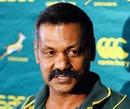 Springboks coach Peter de Villiers talks to the media