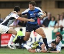Montpellier's Santiago Fernandez stretches the Toulouse defence