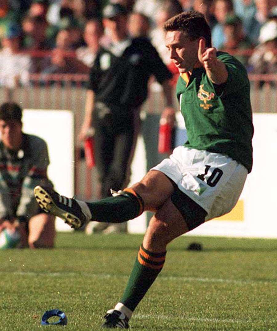 South Africa's Joel Stransky slots a kick
