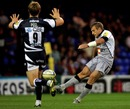 Newcastle's Jeremy Manning attempts a drop goal