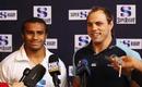 Reds scrum-half Will Genia and Waratahs skipper Phil Waugh face reporters