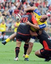 Clermont hooker Mario Ledesma is manhandled by the Toulon defence