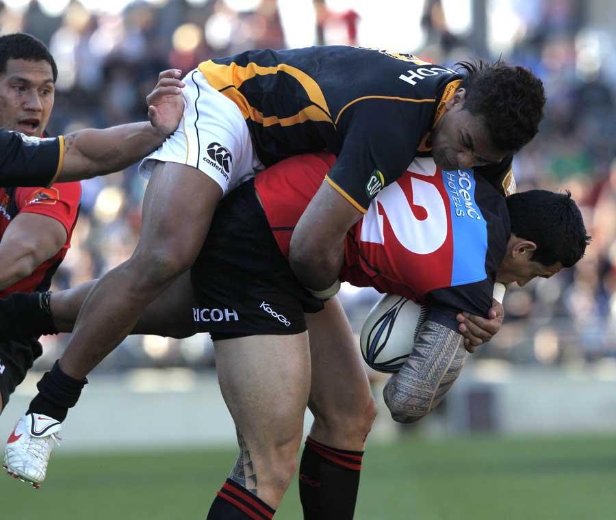 Canterbury's Sonny Bill Williams can't avoid Wellington's Faifili Levave
