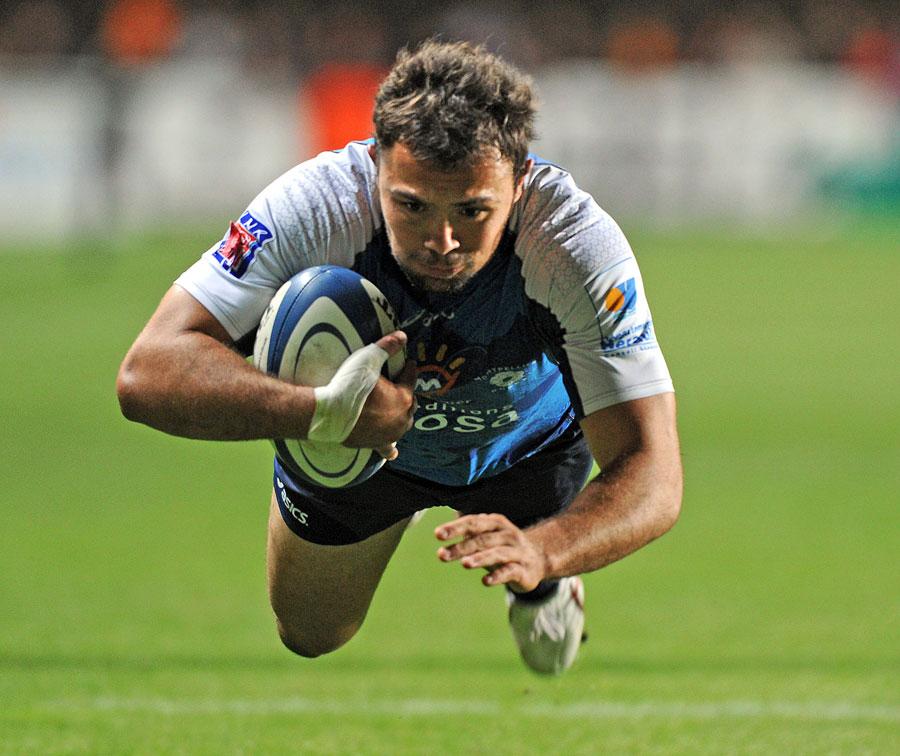 Montpellier's Sylvain Mirande dives over
