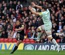 Saracens' Derick Hougaard slots a drop goal