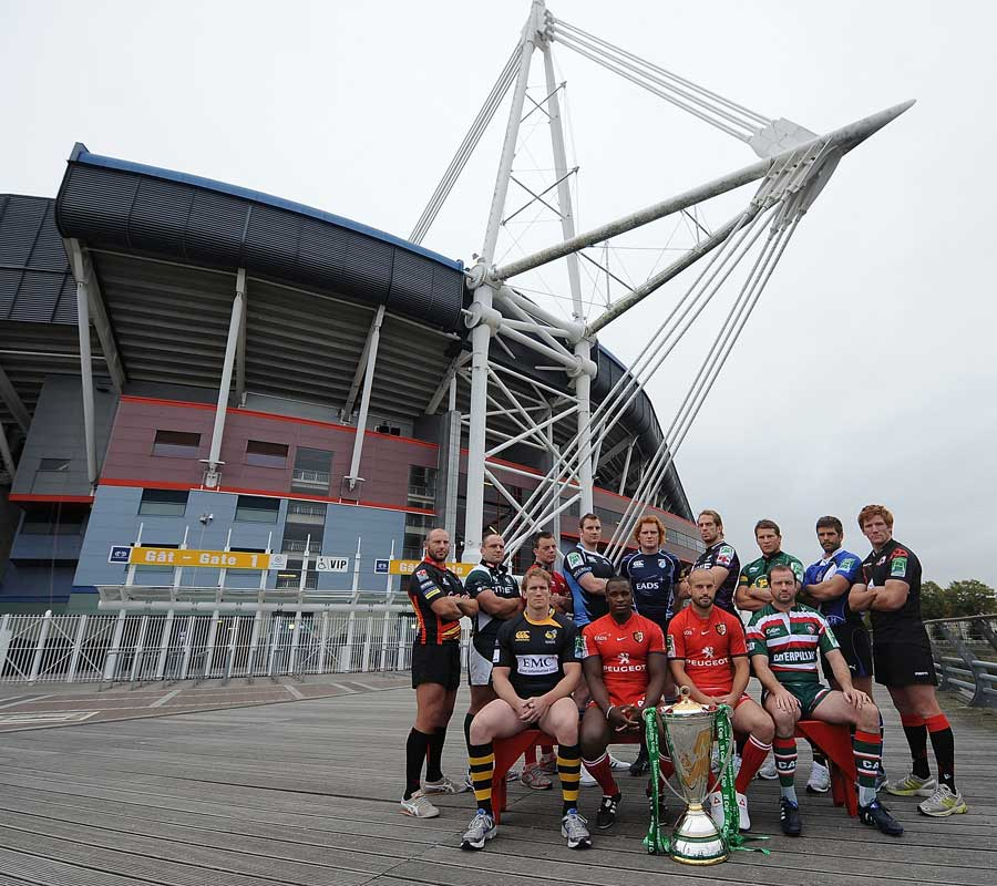 The competing captains pose with the Heineken Cup