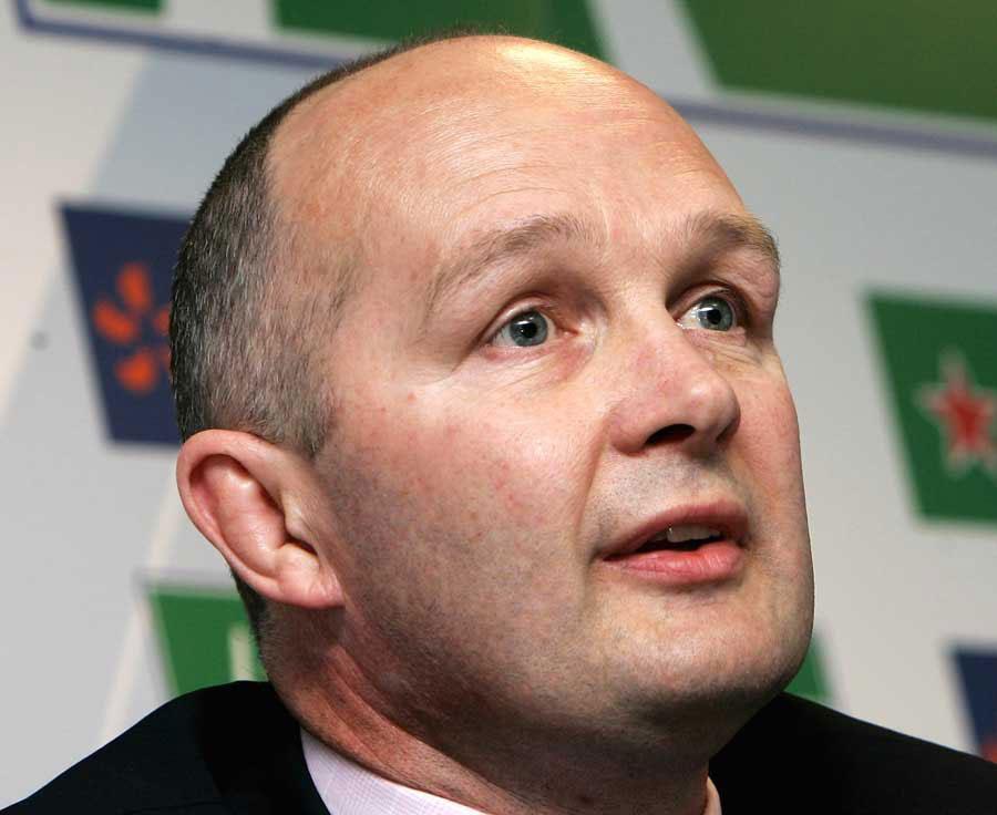 ERC chief executive Derek McGrath talks to the media