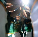 South Africa's Mpho Mbiyozo bonds with his side