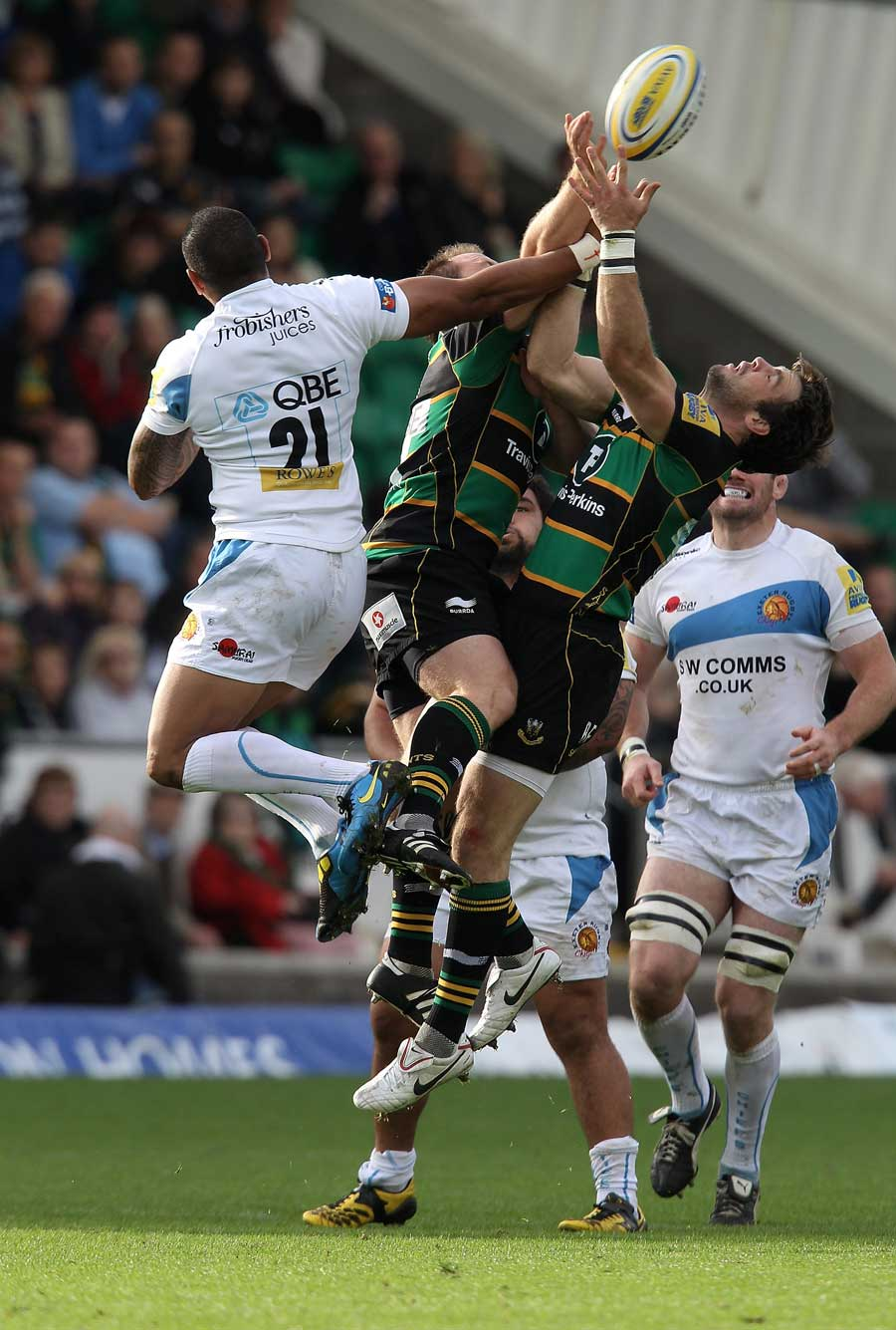 Northampton and Exeter compete for a high ball