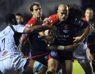 Toulon's Felipe Contepomi vies with Castres's Steve Malonga, Toulon v Castres, French Top 14, Mayol Stadium, Toulon, October 1, 2010