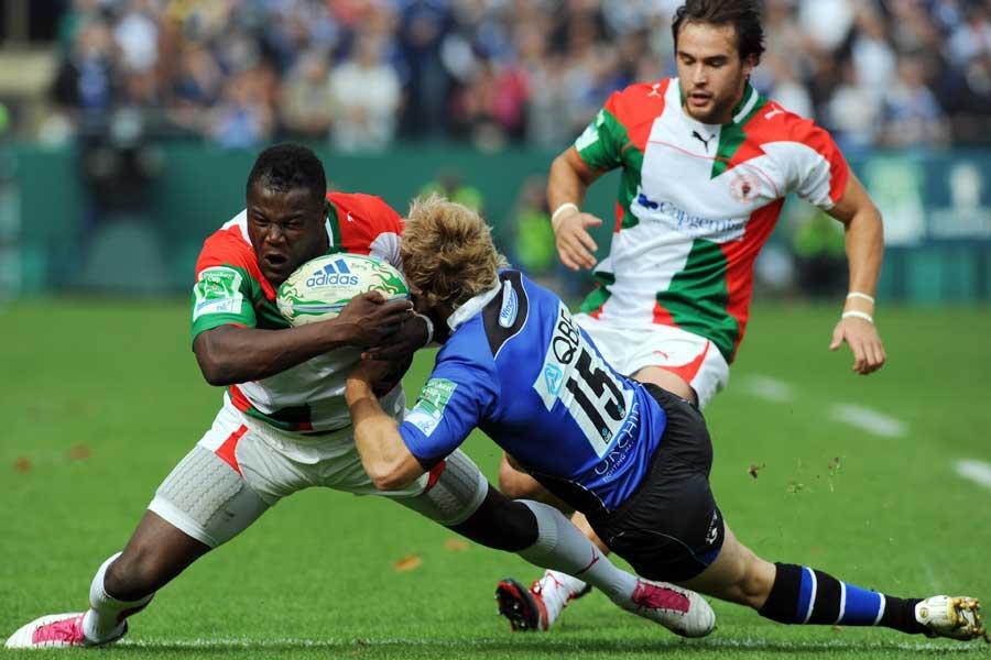 Takudzwa  is caught by Nick Abendanon, Bath v Biarritz, Heineken Cup, The Recreation Ground, Bath, England, October 10, 2010