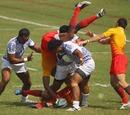 England's Isoa Damudamu goes airborne
