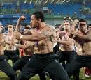 New Zealand's Rico Gear leads a celebratory Haka
