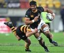 Wellington's Victor Vito stretches the Taranaki defence