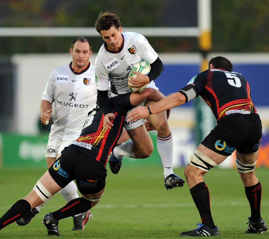 Toulouse's Yannick Jauzion hurdles a tackle, Newport Gwent Dragons v Toulouse, Heineken Cup, Rodney Parade, Newport, Wales, October 16, 2010