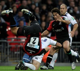 Schalk Brits takes a tumble against Leinster, Saracens v Leinster, Heineken Cup, Wembley stadium, London, England, October 16, 2010