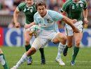 Argentina's fly-half Juan Martin Hernandez runs with the ball