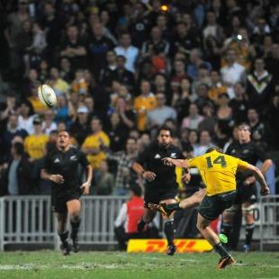 Australia wing James O'Connor slots the winning conversion, Australia v New Zealand, Bledisloe Cup, Hong Kong Stadium, Hong Kong, October 30, 2010
