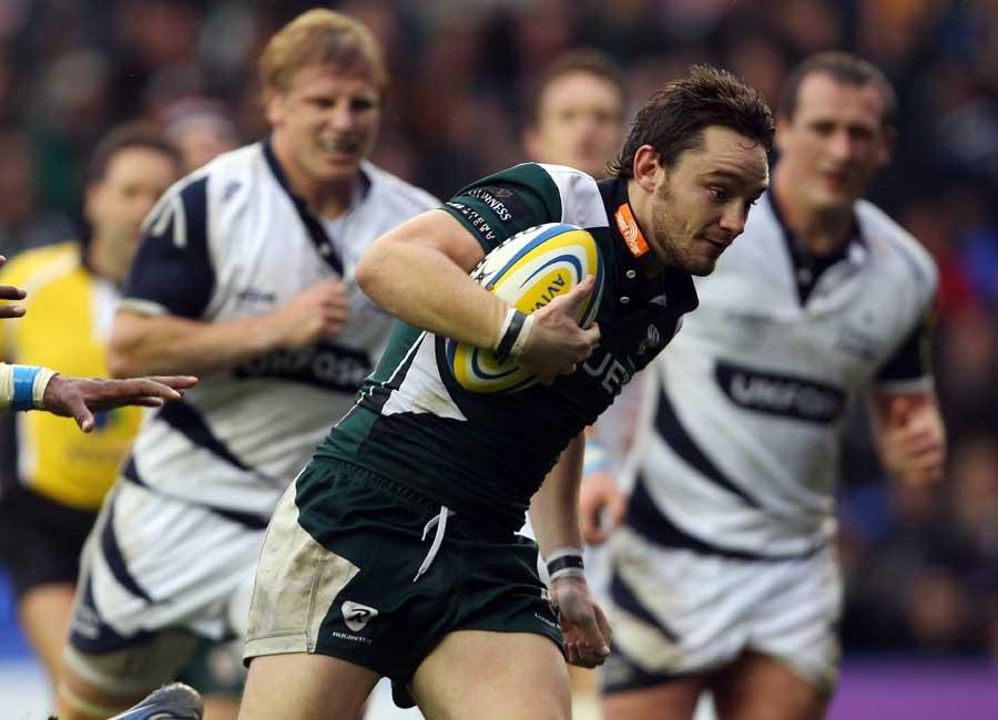 Ryan Lamb accelerates through a gap for London Irish