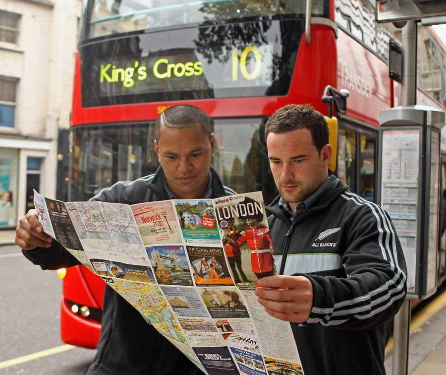 Hikawera Elliot and Alby Mathewson get their bearings in London