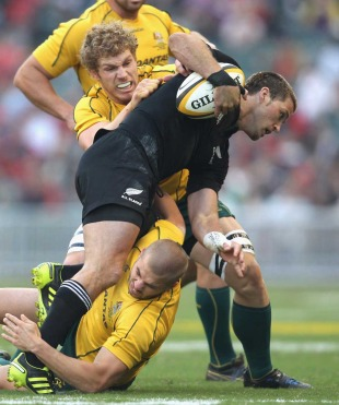 New Zealand's Cory Jane is shackled by Australia's Drew Mitchell and David Pocock, Australia v New Zealand, Bledisloe Cup, Hong Kong Stadium, Hong Kong, China, October 30, 2010