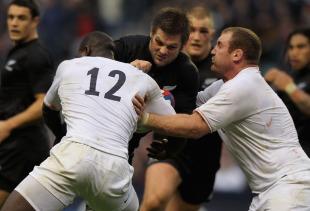 New Zealand's Richie McCaw takes on the England defence, England v New Zealand, Twickenham, London, England, on November 21, 2009