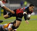 Canterbury's Tu Umaga-Marshall is felled by the Waikato defence