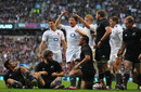 England hooker Dylan Hartley celebrates his try