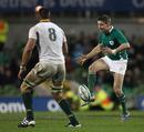 Ireland's Ronan O'Gara lofts the ball in behind the Springbok defence