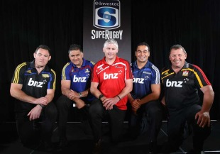 New Zealand Super Rugby coaches - the Highlanders' Mark Hammett, the Highlanders' Jamie Joseph, the Crusaders' Todd Blackadder, the Blues' Pat Lam and the Chiefs' Ian Foster pose at the announcement of the Super Rugby squads, Eden park, Auckland, New Zealand, November 10, 2010