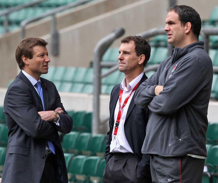 Rob Andrew, John Steele and Martin Johnson chat at Twickenham