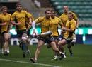 Australia fly-half Quade Cooper prepares to pass