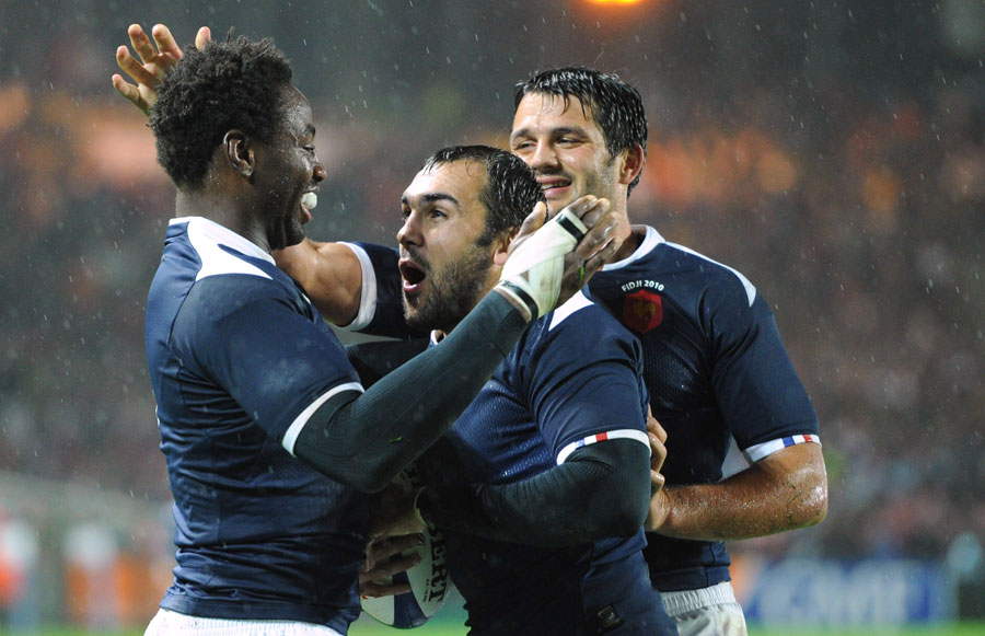 France centre David Marty is congratulated after his try