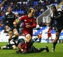 Scarlets wing Lee Williams breaks clear to score